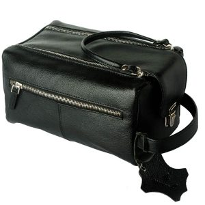 zunash leather black Toiletry Bag