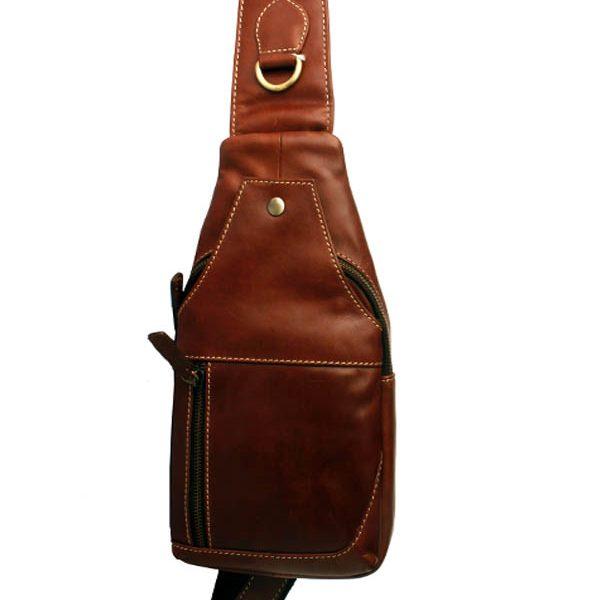 ZUnash Men's Sling Bag Genuine Leather Chest Shoulder