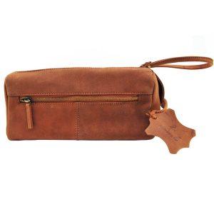 Zunash Genuine Leather Premium Quality Toiletry Bag Unisex-Tan