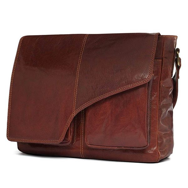 Zunash Tommy Leather Brown Messenger Bag