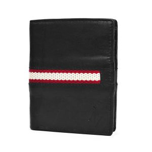 Zunash Tom Leather Wallet Red Strip