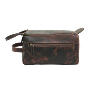 Zunash Leather Unisex Toiletry Bag Maroon