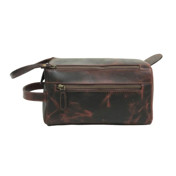 Zunash Leather Unisex Toiletry Bag Maroon