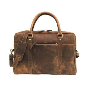 Zunash Brown Genuine Vintage Leather Laptop Bag