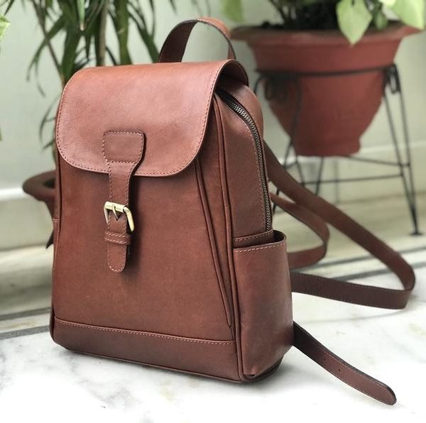 ZunashLeather Rustic Brown Unisex Leather Backpack