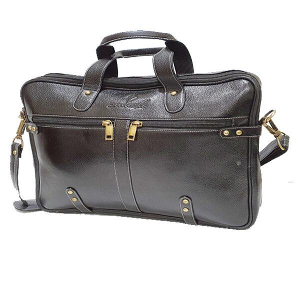 Esteemstud Leather Office Bag -Black