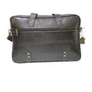 zunash Esteemstud Leather Office Bag -Black