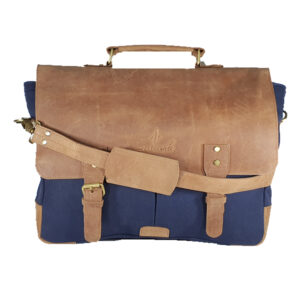 Zunash BASTA Green Canvas Leather Laptop bag