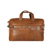 Esteemstud Leather Office Bag -Tan