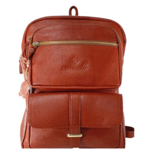 Zunash Leather Solo Backpack Tan